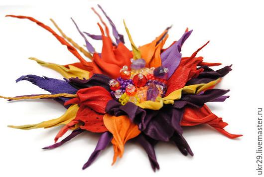 """Броши ручной работы. Ярмарка Мастеров - ручная работа. Купить Брошь заколка из кожи """"Карибский закат"""". Handmade. Разноцветный, аметист"""