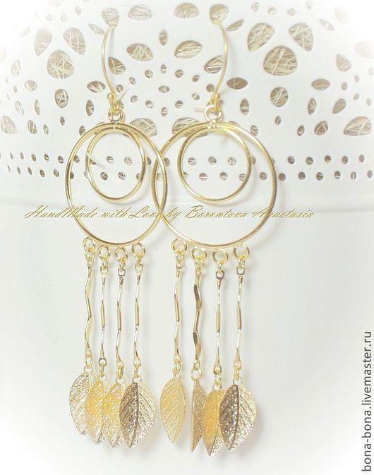 """Серьги ручной работы. Ярмарка Мастеров - ручная работа. Купить Позолоченные серьги """"Gold autumn"""". Handmade. Золотой, позолоченные серьги"""
