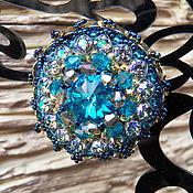 """Украшения handmade. Livemaster - original item Брошь """" Blue Sky """" бисер японский, кристаллы Сваровски. Handmade."""