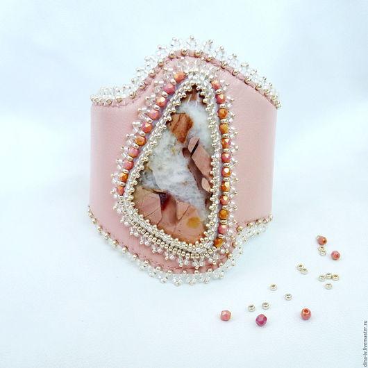 Браслеты ручной работы. Ярмарка Мастеров - ручная работа. Купить Браслет Натуральный камень Яшма Бисер Кожа розовый серебряный. Handmade.