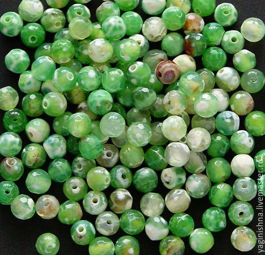 Для украшений ручной работы. Ярмарка Мастеров - ручная работа. Купить Зеленый агат кракле, граненые бусины 6 мм. Handmade.