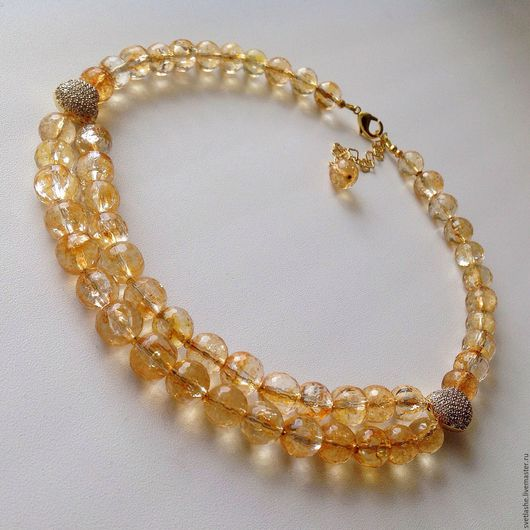 Колье из Цитрина бусы ожерелье купить в подарок девушке женщине любимой подруге комплект украшение на шею из натуральных камней