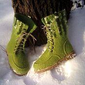 Обувь ручной работы. Ярмарка Мастеров - ручная работа Валенки на подошве,,Молодо-зелено``. Handmade.