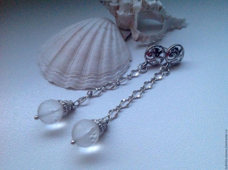 Long earrings with crystal 'Froze', Earrings, Moscow,  Фото №1