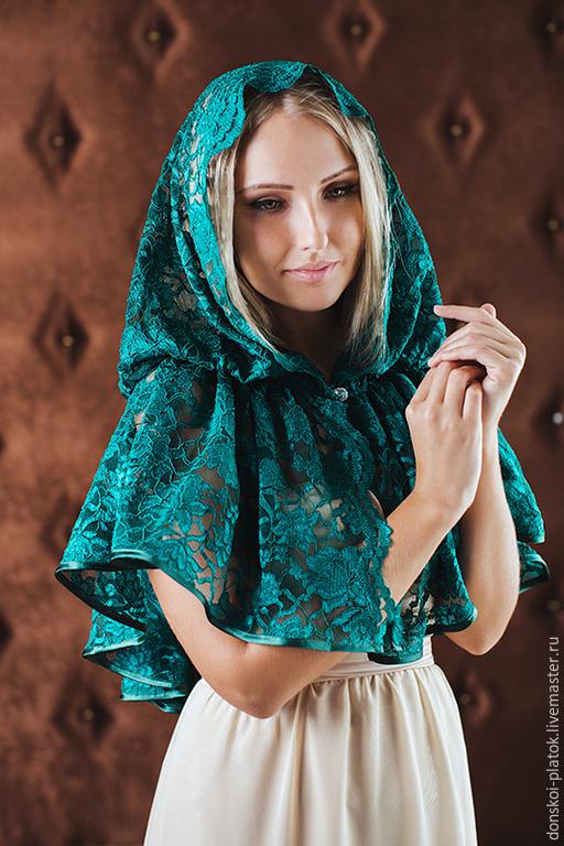 """Шали, палантины ручной работы. Ярмарка Мастеров - ручная работа. Купить платок в храм """"Ульяна"""". Handmade. Болотный, подарок женщине"""