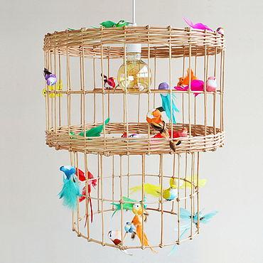 """Освещение ручной работы. Ярмарка Мастеров - ручная работа Люстра двойная """"Клетка с птичками"""". Handmade."""