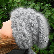 Аксессуары ручной работы. Ярмарка Мастеров - ручная работа шапка с косами из козьего пуха. Handmade.