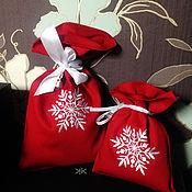 Подарки к праздникам handmade. Livemaster - original item A bag of flax Snowflakes New year 2016. Handmade.