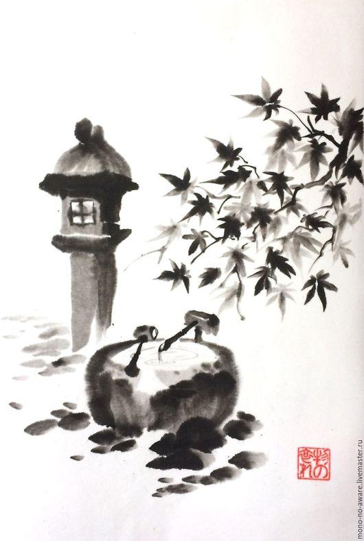 """Пейзаж ручной работы. Ярмарка Мастеров - ручная работа. Купить Картина в технике суми-э """"Японская осень"""". Handmade."""