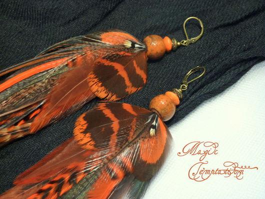 Серьги ручной работы. Ярмарка Мастеров - ручная работа. Купить Оранжевые длинные серьги из перьев. Handmade. Оранжевый, серьги длинные