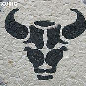 """Сувениры и подарки ручной работы. Ярмарка Мастеров - ручная работа Панно из мрамора - """"Голова чёрного быка"""". Handmade."""