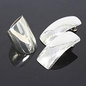 Украшения handmade. Livemaster - original item Minima Series Arc Ring and earrings in polished silver. Handmade.
