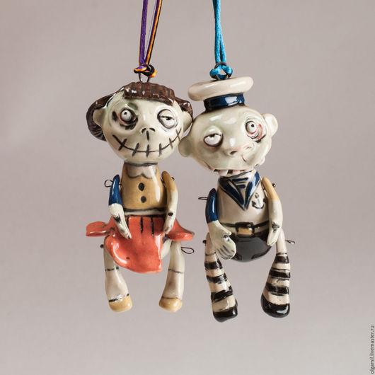 Куклы и игрушки ручной работы. Ярмарка Мастеров - ручная работа. Купить Моряк и его невеста. Handmade. Мятный, интерьерная игрушка