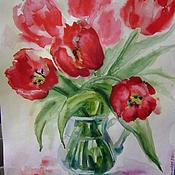 """Картины и панно ручной работы. Ярмарка Мастеров - ручная работа картина акварелью""""Букет красных тюльпанов"""". Handmade."""