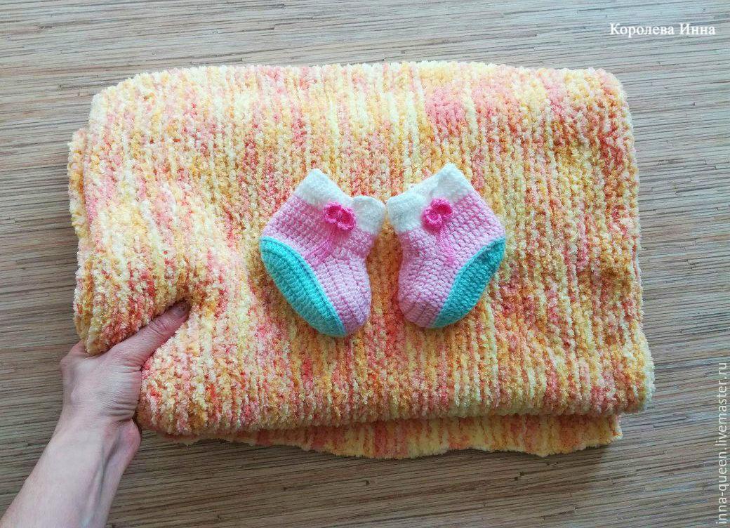 Плюшевый плед для новорожденного спицами