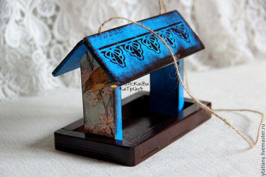 """Персональные подарки ручной работы. Ярмарка Мастеров - ручная работа. Купить Кормушка для птиц """"Пташка"""". Handmade. Голубой, для дома и дачи"""
