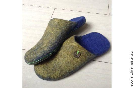 """Обувь ручной работы. Ярмарка Мастеров - ручная работа. Купить Тапочки мужские """"Денежные"""". Handmade. Комбинированный, тапочки из шерсти"""