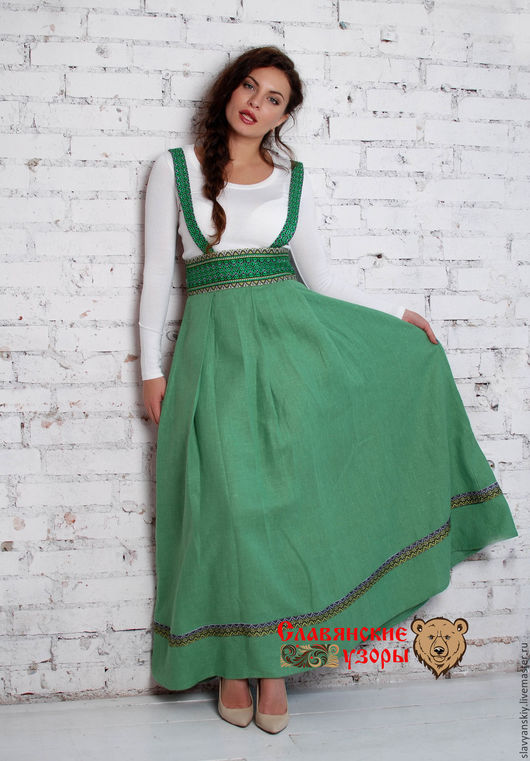Этническая одежда ручной работы. Ярмарка Мастеров - ручная работа. Купить Подгрудный сарафан зеленый. Handmade. Зеленый, сарафан длинный