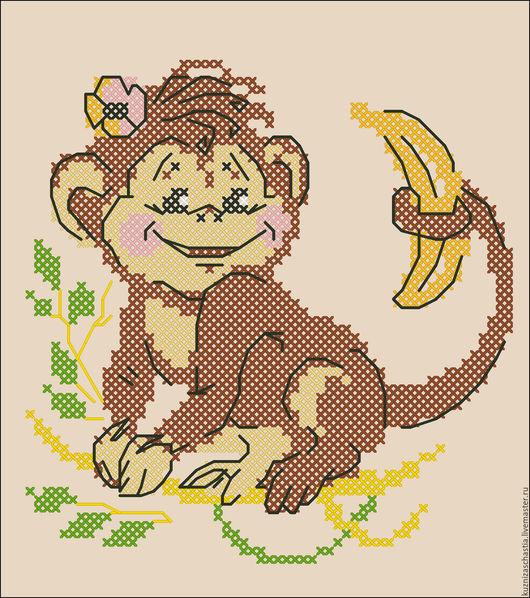 """Вышивка ручной работы. Ярмарка Мастеров - ручная работа. Купить Дизайн машинной вышивки """"Обезьянка с бананом"""". Handmade. Разноцветный"""