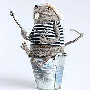 Куклы и игрушки ручной работы. Ярмарка Мастеров - ручная работа Вязаная игрушка крыса. Крыс-рыбак. Большая рыбалка.. Handmade.