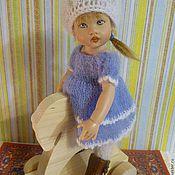 """Куклы и игрушки ручной работы. Ярмарка Мастеров - ручная работа Голубое платье и беретик для куклы Kish 7.5"""" Riley. Handmade."""