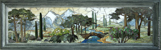 """Пейзаж ручной работы. Ярмарка Мастеров - ручная работа. Купить Мозаика """"Пейзаж Италия"""". Handmade. Картина в подарок, картина панно"""
