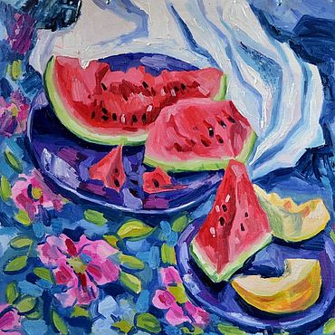 Pictures and panels handmade. Livemaster - original item Pictures: Still life with watermelon. Handmade.