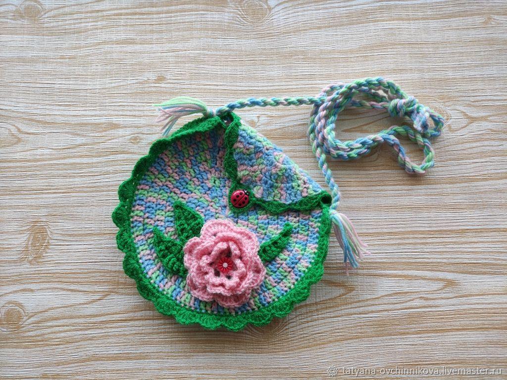 Сумочка детская зеленая с розовым цветком, Сумки для детей, Благовещенск,  Фото №1