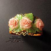 Украшения ручной работы. Ярмарка Мастеров - ручная работа Украшение браслет Розы из полимерной глины розовый. Handmade.
