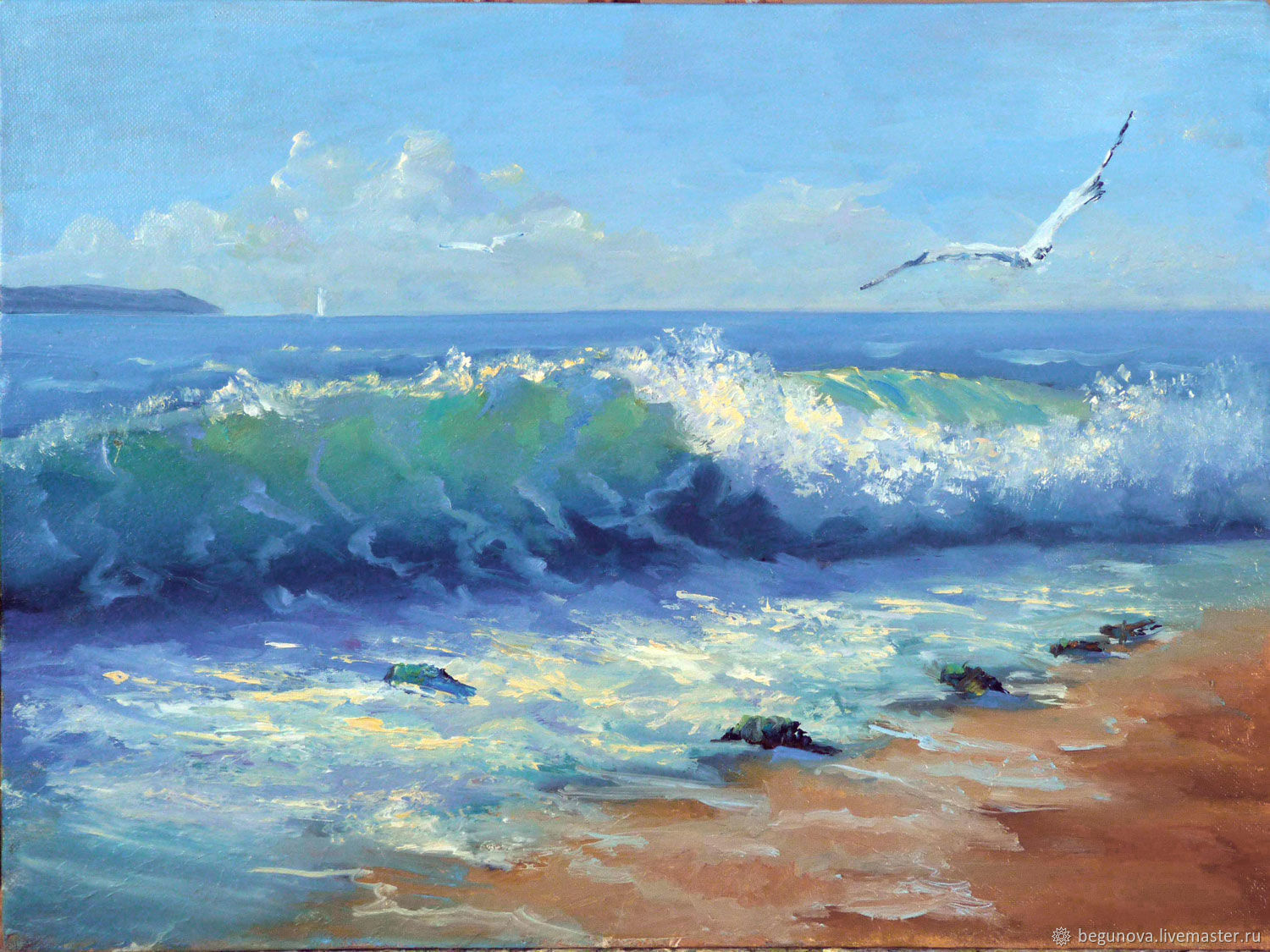 """Oil painting of the sea """"Surf"""", seascape with Seagull, sea ..."""