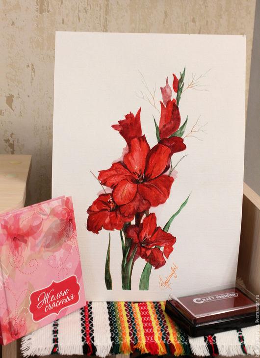 Картины цветов ручной работы. Ярмарка Мастеров - ручная работа. Купить Красные гладиолусы. Handmade. Бордовый, гладиолус, картина, искусство