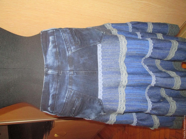 Юбки с кокеткой из джинса