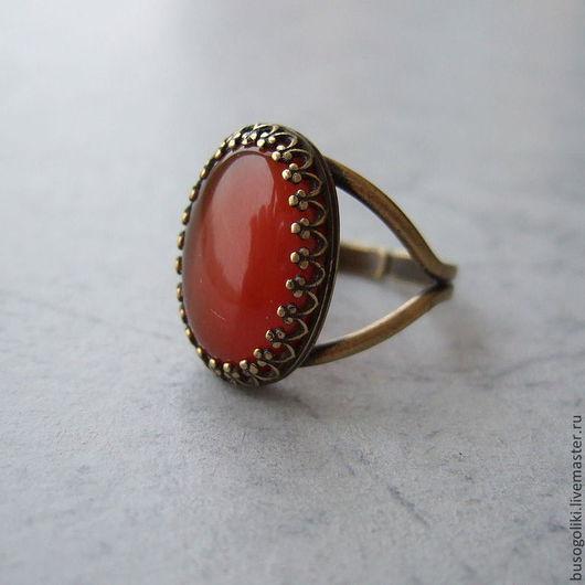 """Кольца ручной работы. Ярмарка Мастеров - ручная работа. Купить Кольцо с сердоликом """"Мармелад"""". Handmade. Рыжий, серьги и кольцо, сердолик"""