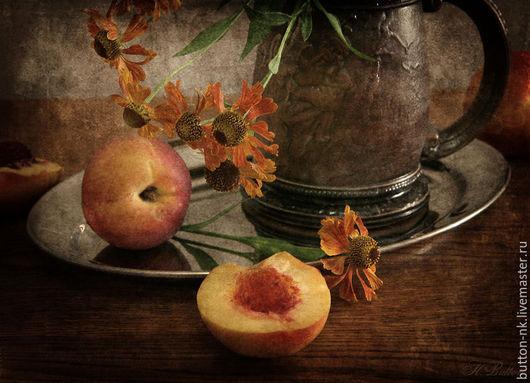 Фотокартины ручной работы. Ярмарка Мастеров - ручная работа. Купить натюрморт персики с цветами. Handmade. Оранжевый, рыжий, персик, цветы
