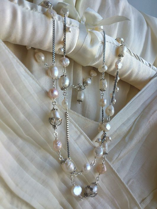 Колье, бусы ручной работы. Ярмарка Мастеров - ручная работа. Купить Серебряное ожерелье с барочным жемчугом 'Грайте музикi'. Handmade.