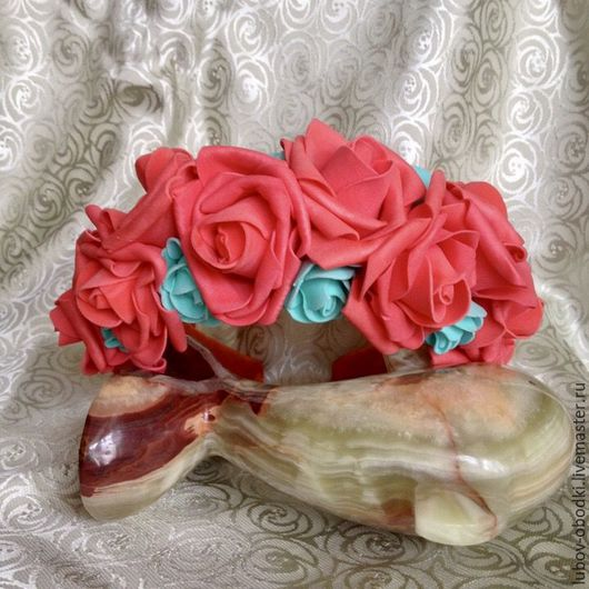 Диадемы, обручи ручной работы. Ярмарка Мастеров - ручная работа. Купить ободок для волос алые розы. Handmade. Ярко-красный