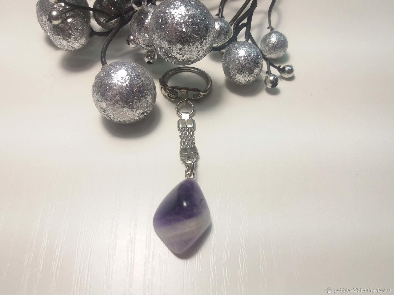 Брелок для ключей из Аметиста, натуральный камень