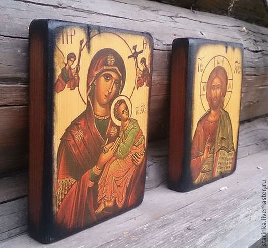 Иконы ручной работы. Ярмарка Мастеров - ручная работа. Купить Иисус и Богородица Венчальная пара Иконы на дереве. Handmade.