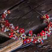 Свадебный салон handmade. Livemaster - original item The Headband Tiara.Red flowers.. Handmade.