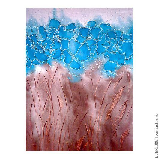 """Картины цветов ручной работы. Ярмарка Мастеров - ручная работа. Купить Батик панно """"Живые цветы"""". Handmade. Бирюзовый, картина"""