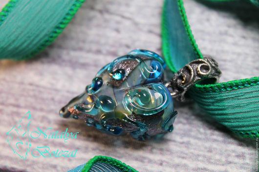 Кулон сердце подвеска сердечко авторского стекла сердце снежной королевы муранское венецианское художественное стекло подарок женщине девочке девушке купить