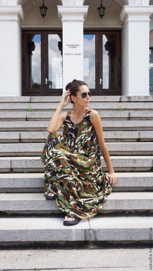 Яркое платье из тонкого хлопка в стиле бохо.Свободный стиль для лета