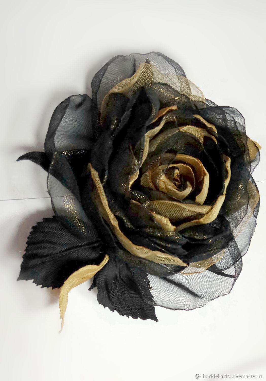 FABRIC FLOWERS. Chiffon rose ' Black gold', Brooches, Vidnoye,  Фото №1
