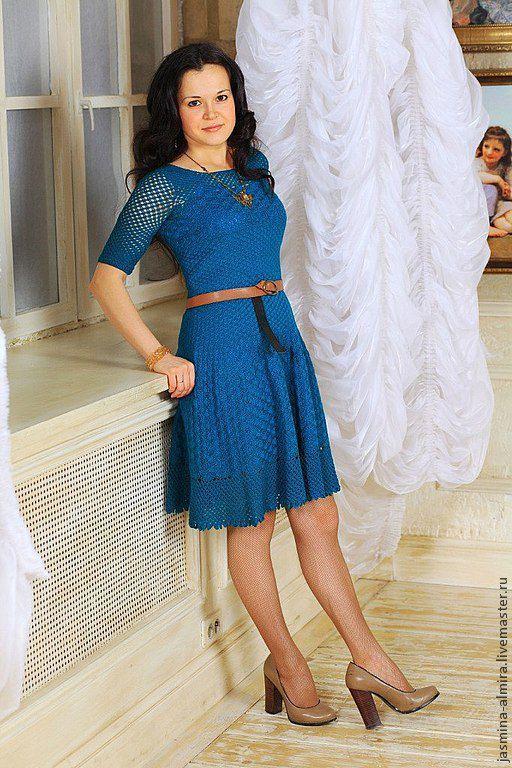 Платья ручной работы. Ярмарка Мастеров - ручная работа. Купить Вязаное крючком платье из тонкой хлопковой нити. Handmade.
