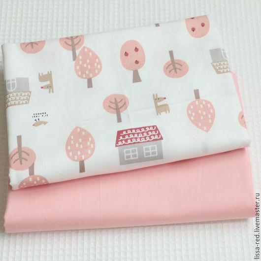 Шитье ручной работы. Ярмарка Мастеров - ручная работа. Купить Набор ткани ДОМИКИ розовый  В НАЛИЧИИ. Handmade.
