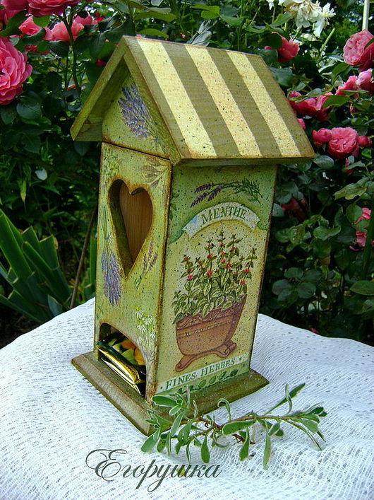 Кухня ручной работы. Ярмарка Мастеров - ручная работа. Купить Чайный домик  для хранения пакетиков Ароматные травы. Handmade. травы