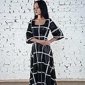 Одежда ручной работы. Ярмарка Мастеров - ручная работа Платье в клетку,расшитое шифоном. Handmade.