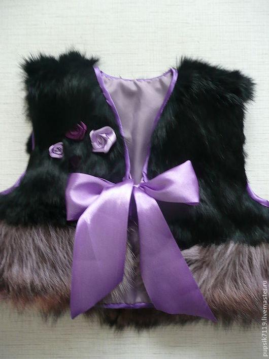 Одежда для девочек, ручной работы. Ярмарка Мастеров - ручная работа. Купить жилет-болеро енот. Handmade. Черный, одежда для детей