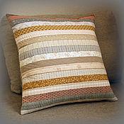 Для дома и интерьера handmade. Livemaster - original item Decorative cushion made of cotton and natural linen. Quilt. Handmade.