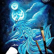 """Футболки ручной работы. Ярмарка Мастеров - ручная работа Футболка женская с ручной росписью """"Лунный лис"""". Handmade."""
